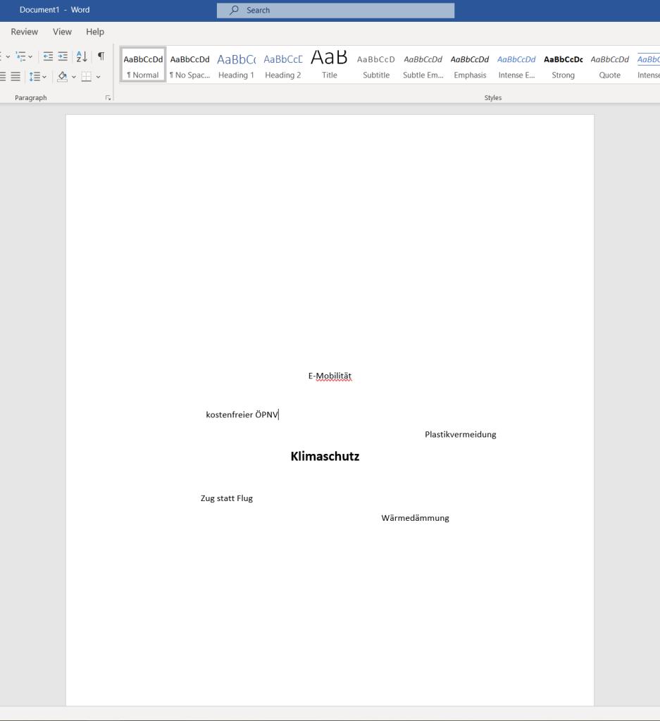 Screenshot von Microsoft Word zeigt, wie das Programm für Brainstorming verwendet werden kann